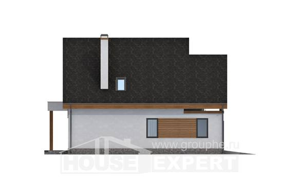 120-005-R Two Story House Plans and mansard with garage under, modest Architect Plans, House Expert