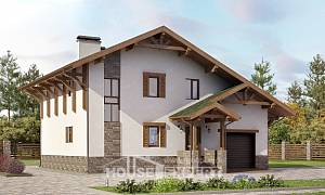 190-007-R Two Story House Plans with mansard roof with garage under, a simple Woodhouses Plans