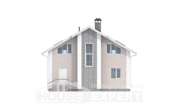150-002-R Two Story House Plans with mansard with garage in front, classic Tiny House Plans,