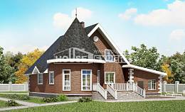 220-002-L Two Story House Plans and mansard with garage under, spacious House Building,
