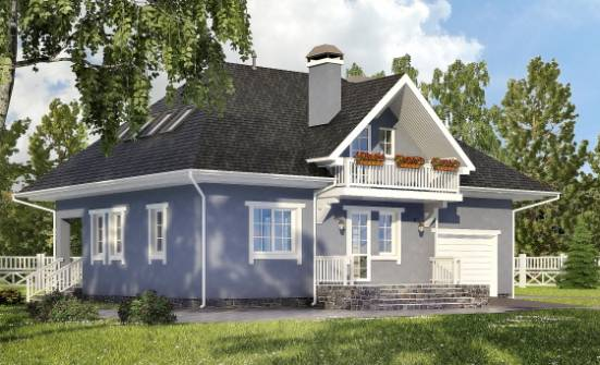 200-001-R Two Story House Plans and mansard with garage under, classic Blueprints, House Expert
