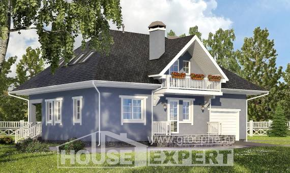 200-001-R Two Story House Plans with mansard and garage, cozy Tiny House Plans, House Expert