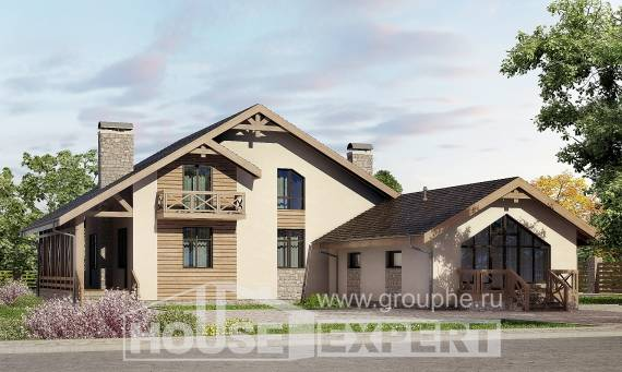 265-001-L Two Story House Plans with mansard and garage, big Cottages Plans, House Expert