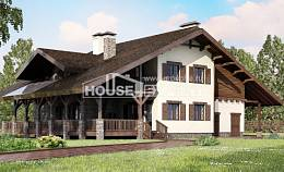 320-001-R Two Story House Plans and mansard with garage, beautiful Villa Plan,