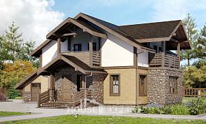 180-011-L Two Story House Plans and mansard and garage, classic Design Blueprints