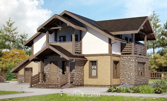 180-011-L Two Story House Plans with mansard roof with garage, classic House Planes, House Expert