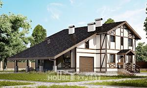 250-002-L Two Story House Plans with mansard and garage, a simple Cottages Plans