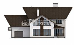 300-002-R Two Story House Plans with mansard roof with garage in back, cozy Ranch,