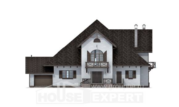 350-001-L Two Story House Plans with mansard and garage, spacious House Blueprints,