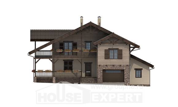 255-002-R Two Story House Plans with mansard with garage under, cozy Cottages Plans,