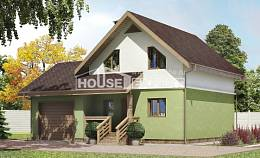 120-002-R Two Story House Plans with mansard roof with garage, beautiful Drawing House,