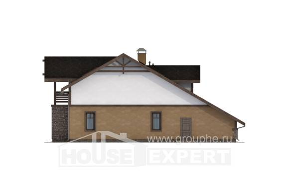180-011-L Two Story House Plans and mansard with garage under, luxury Architect Plans,