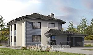 340-005-R Two Story House Plans with garage under, classic Cottages Plans