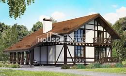 155-002-R Two Story House Plans with mansard roof with garage in front, inexpensive Building Plan,