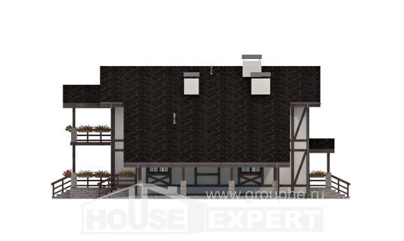 250-002-L Two Story House Plans and mansard with garage in front, cozy Villa Plan,