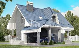 125-002-L Two Story House Plans with mansard roof and garage, compact Ranch,
