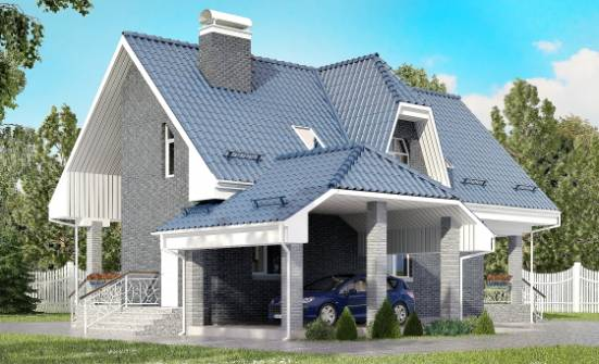 125-002-L Two Story House Plans and mansard with garage under, a simple Tiny House Plans, House Expert