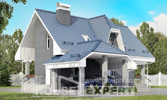 125-002-L Two Story House Plans with mansard roof with garage in front, modest Home House,