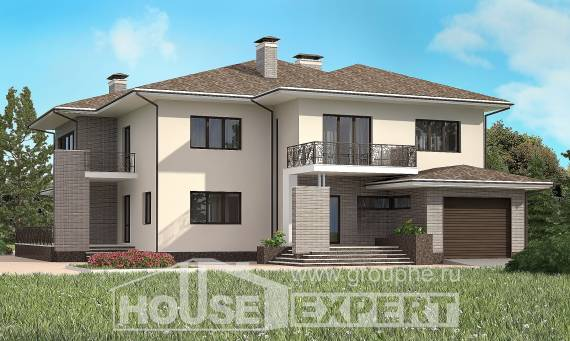 500-001-R Three Story House Plans with garage under, classic Villa Plan, House Expert