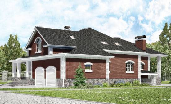 600-001-R Three Story House Plans with mansard with garage under, a huge House Building,