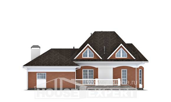 180-007-R Two Story House Plans with mansard roof with garage, economical Online Floor