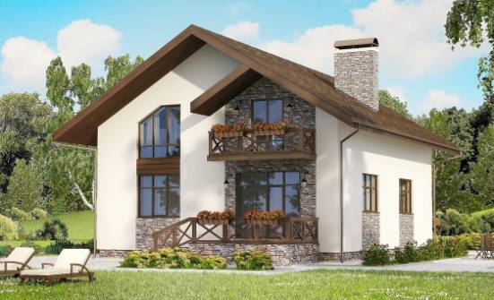155-001-R Two Story House Plans with mansard and garage, compact Planning And Design,