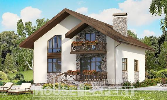 155-001-R Two Story House Plans with mansard with garage under, available Online Floor, House Expert