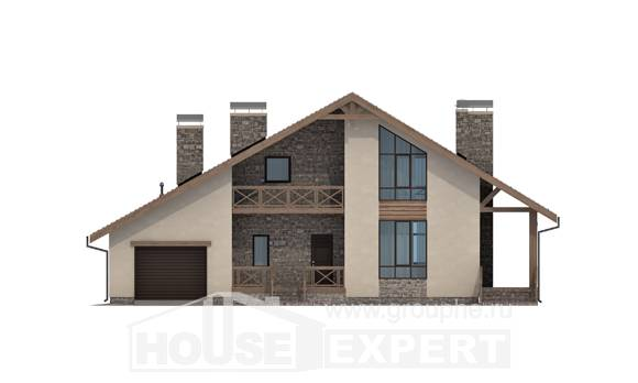 265-001-L Two Story House Plans with mansard and garage, beautiful Blueprints, House Expert