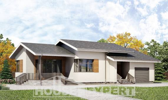 135-002-R One Story House Plans with garage, the budget Design House,
