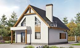 120-005-R Two Story House Plans and mansard with garage in front, modest Floor Plan, House Expert