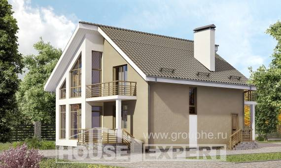 170-006-L Two Story House Plans with mansard, compact Design Blueprints