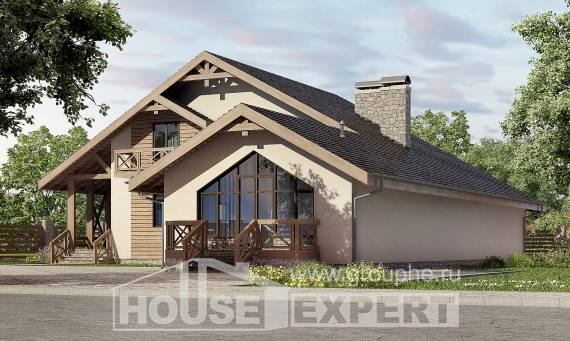 265-001-L Two Story House Plans and mansard with garage in front, spacious Woodhouses Plans, House Expert