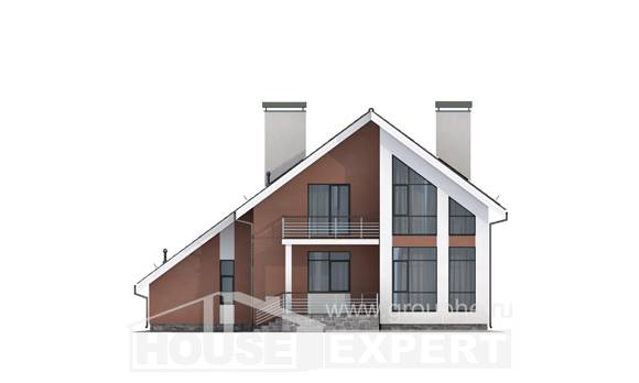200-007-R Two Story House Plans with mansard roof with garage under, spacious Construction Plans