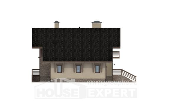 420-001-L Three Story House Plans and mansard with garage in back, big Floor Plan
