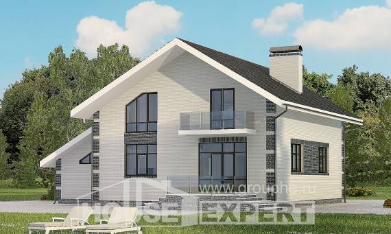 180-001-R Two Story House Plans and mansard with garage in front, the budget Villa Plan,