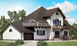 350-001-L Two Story House Plans with mansard roof with garage under, modern House Plans,