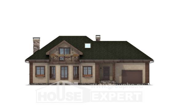 180-010-R Two Story House Plans with mansard with garage in front, a simple House Blueprints,