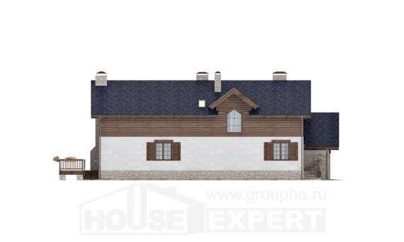 240-002-L Two Story House Plans with mansard roof with garage, luxury Cottages Plans,