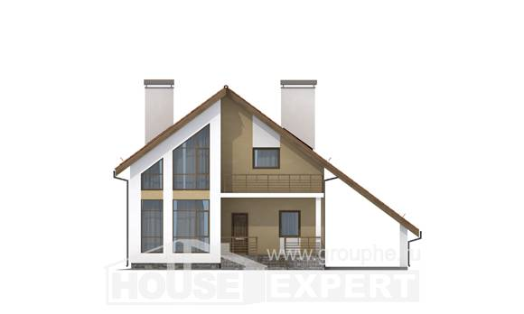 170-009-R Two Story House Plans with mansard with garage, beautiful Woodhouses Plans