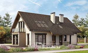 185-005-L Two Story House Plans with mansard roof and garage, average Plans To Build