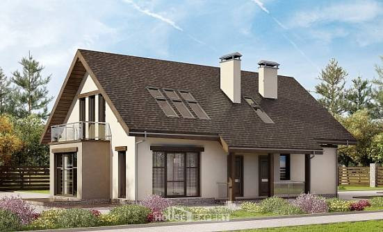185-005-L Two Story House Plans and mansard with garage under, modern Design Blueprints,