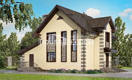 160-004-R Two Story House Plans with mansard roof with garage in front, compact Drawing House,