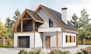 120-005-R Two Story House Plans with mansard with garage in front, modest Architectural Plans,
