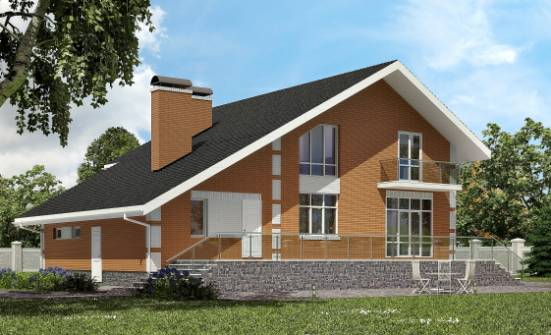 190-006-R Two Story House Plans with mansard with garage under, average Cottages Plans, House Expert