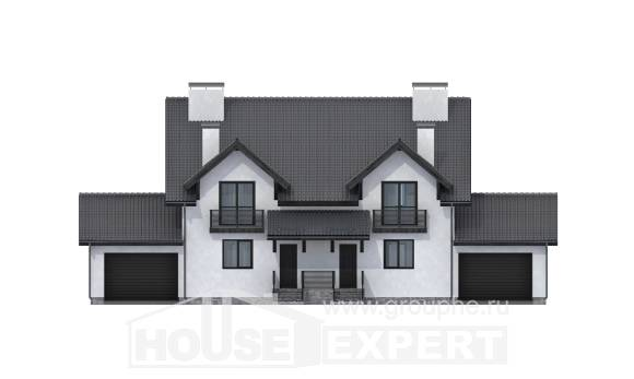 290-003-R Two Story House Plans with mansard with garage in front, cozy Architectural Plans,