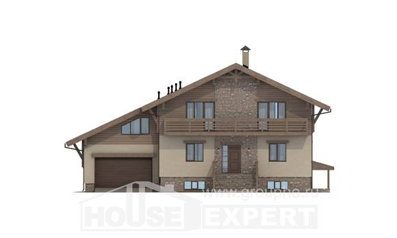 420-001-L Three Story House Plans with mansard with garage in back, modern Home Blueprints