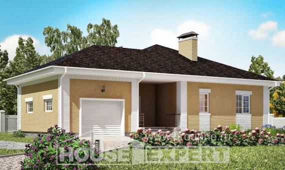 130-002-L One Story House Plans with garage in back, economical Woodhouses Plans