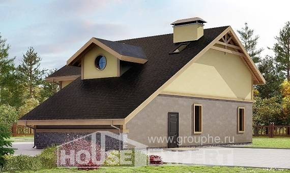 180-011-R Two Story House Plans with mansard roof with garage under, beautiful Villa Plan,
