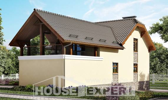 255-003-R Two Story House Plans with mansard roof with garage, modern Architects House