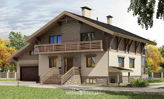 420-001-L Three Story House Plans with mansard roof with garage under, modern House Building,